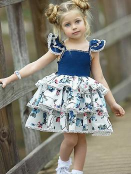 Floral Contrast Color Tiered Girls Dresses