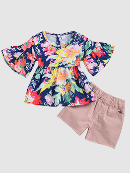 Floral Flare Sleeve Baby Girl Outfits