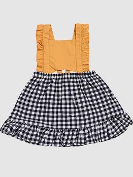 Chic Plaid Patchwork Casual Dresses