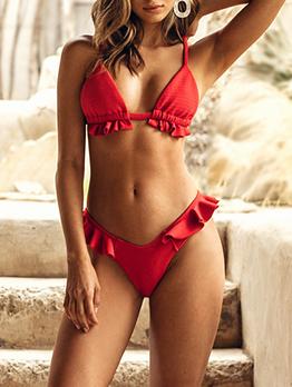 V Neck Stringy Selvedge Red Womens Bikinis