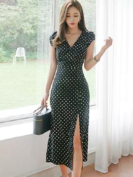 Dots V Neck Slit Vintage Dresses
