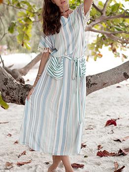 Striped Pocket Tassel Sleeve Maxi Dresses