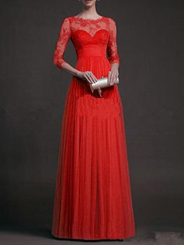 Elegant Lace Patchwork Wholesale Evening Dresses