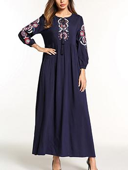 Casual Crew Neck Embroidery Muslim Maxi Dress