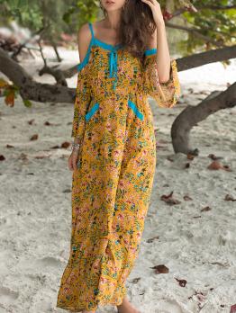 Off Shoulder Floral Loose Maxi Dress For Beach