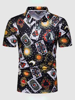 Casual Turndown Collar Printed Man Polo Shirts