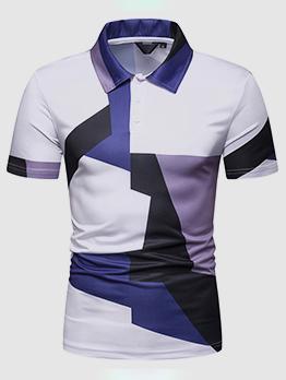 Color Block Turndown Collar Man Polo Shirts