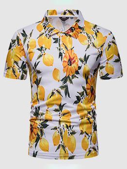 Flower Printed Casual Short Sleeve Man Polo Shirts