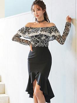 Lace Off Shoulder Blouse With Irregular Skirt