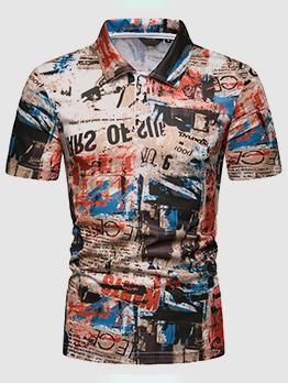 Graffiti Printed Fashionable Polo Shirt For Man