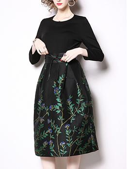 Jacquard Weave Patchwork Elegant Dresses
