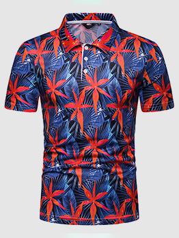 Leaves Printed Turndown Neck Casual Polo Shirt