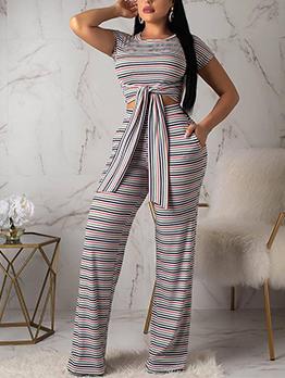 Crew Neck Tie-Wrap Striped 2 Piece Pants Sets