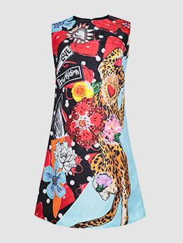 Crew Neck Flower Printed Sleeveless Boutique Dress