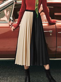 Stylish Contrasting Colors Pleated Midi Skirt