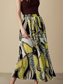 Euro Printed Ruched Chiffon Midi Skirt