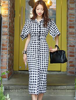 OL Style Single-Breast Smart Waisted Plaid Midi Dress