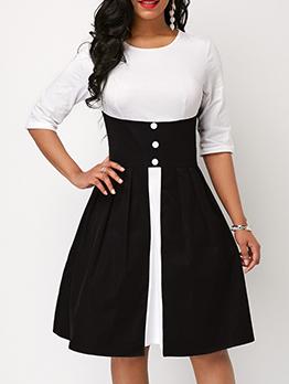 Round Neck Patchwork Half Sleeves Short Dresses
