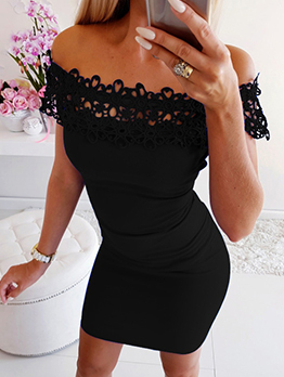 Lace Patchwork Bodycon Off The Shoulder Dress