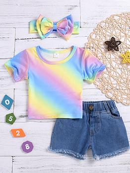 Casual Rainbow Denim Baby Set