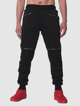 Zipper Drawstring Sport Style Man Long Pants