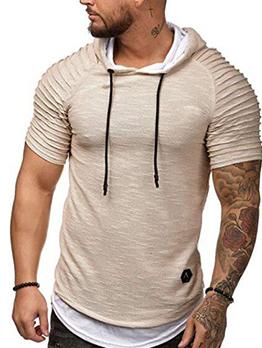 Stylish Pleated Hooded Man Short Sleeve T-Shirt