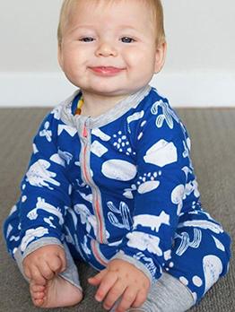 Crew Neck Printed Zipper Up Boys Sleepsuits
