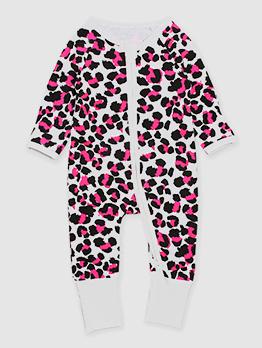 Pink Leopard Zipper Up Baby Girls Sleepsuits