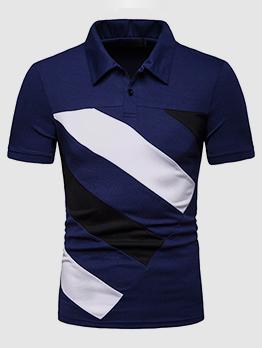 Turndown Collar Color Block Polo Shirts