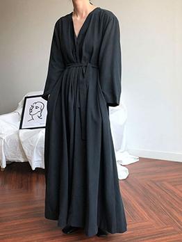 Plus Size Solid V Neck Tie-wrap Maxi Dresses
