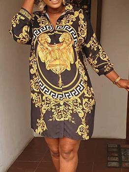 Turndown Neck Printed Vintage Shirt Dresses