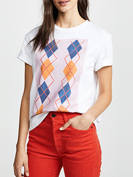 Geometric Printed Round Collar Woman T-Shirt