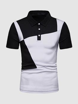Mens Color Matching Short Sleeves Polo Shirts
