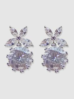 Fashion Zircon Flower Shape Earrings