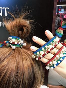 Beaded Color Block Elastic Hair Rope