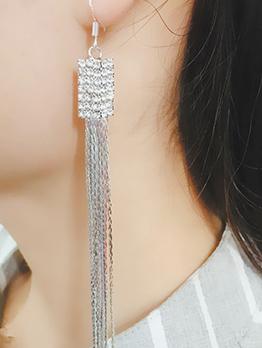 Elegant Rhinestone Tassels Drop Earrings