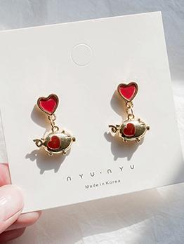 Creative Heart Golden Pig Earrings