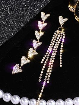 Heart Tassels Rhinestone Asymmetrical Earrings