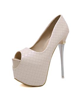 Spring Solid Slip On Peep-Toe Lady Stiletto Heels