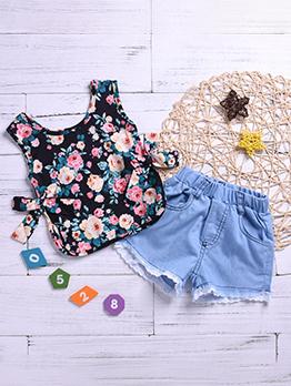 Flower Bow Vest With Denim Short Pants For Girls
