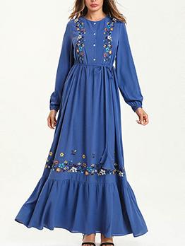 Flower Embroidered Button Up Muslin Maxi Dress