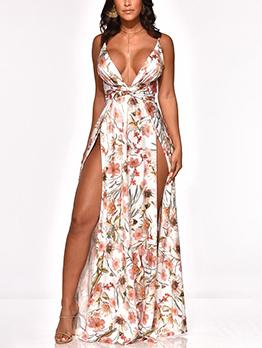 Sexy Flower Backless Split Straps Maxi Dress