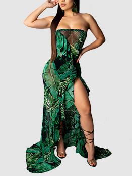 A-Lined Tropical Print Split Strapless Maxi Dress