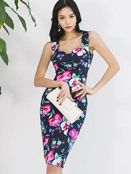 Korean Design Floral Sleeveless Bodycon Dress