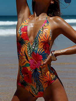 Hot Sale Halter Backless Printed One Piece Swimwear