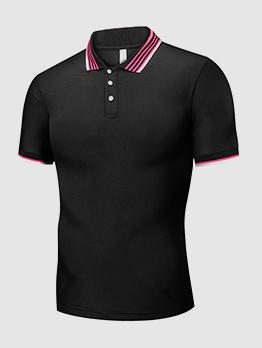 Solid Turndown Collar Short Sleeves Polo Shirts