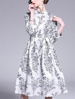 Elegant Jacquard Weave A Line Dress