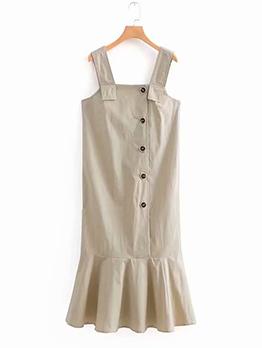 Ruffle Single-breasted Sleeveless Women Dresses