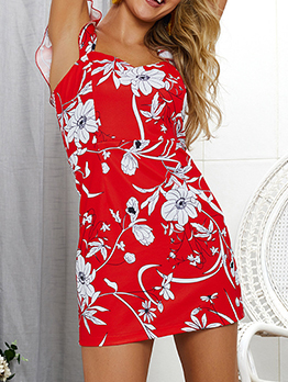 Beach Ruffle Fitted Floral Dresses