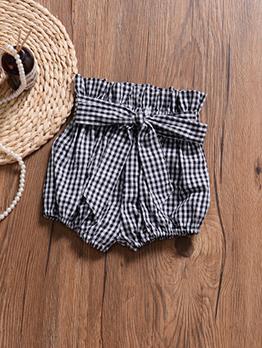 Sweet Striped Binding Bow Short Pants For Girls